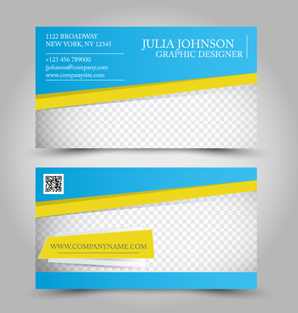 yellow card: Business card design set template for company corporate style. Blue and yellow color. Vector illustration.