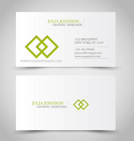 Sjabloon voor visitekaartje ontwerpsjabloon voor bedrijfsstijl. Groene en zilveren kleur. Vector illustratie.