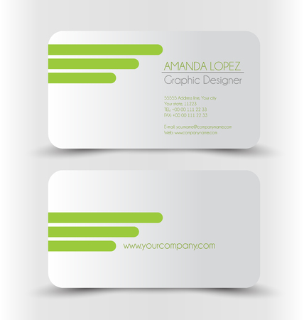 green card: Business card design set template for company corporate style. Green and silver color. Vector illustration.