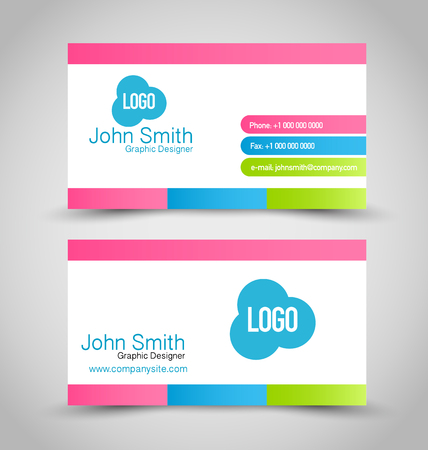 calling art: Business card design set template for company corporate style. Blue, pink, green and white color. Vector illustration. Illustration