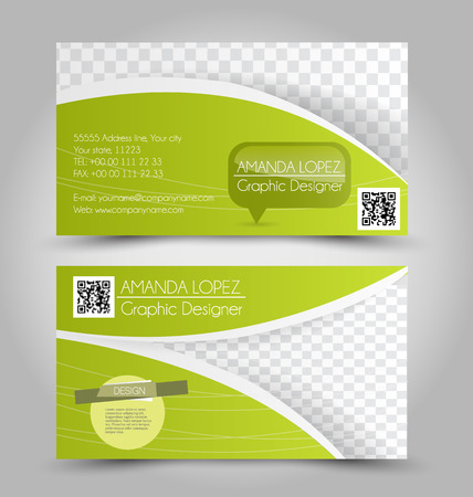 name calling: Business card design set template for company corporate style. Green color. Vector illustration. Illustration