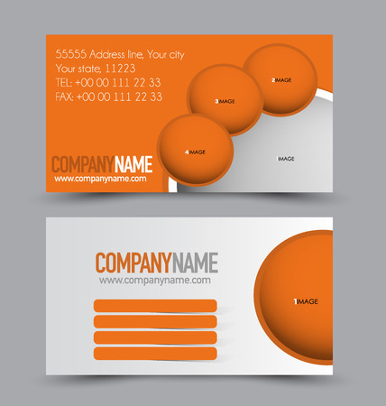 calling art: Business card design set template for company corporate style. Orange color. Vector illustration.