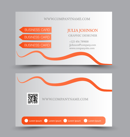 calling art: Business card design set template for company corporate style. Orange and silver color. Vector illustration. Illustration