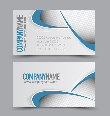 calling art: Business card design set template for company corporate style. Blue color. Vector illustration.