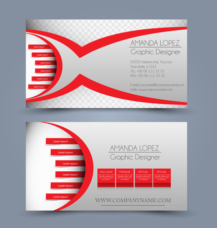 calling art: Business card design set template for company corporate style. Red color. Vector illustration.