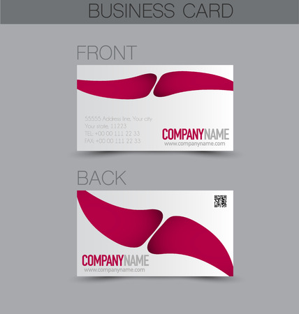 calling art: Business card design set template for company corporate style. Pink color. Vector illustration.
