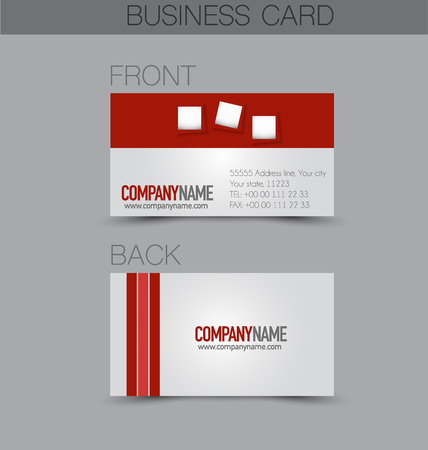 name calling: Business card design set template for company corporate style. Red color. Vector illustration.