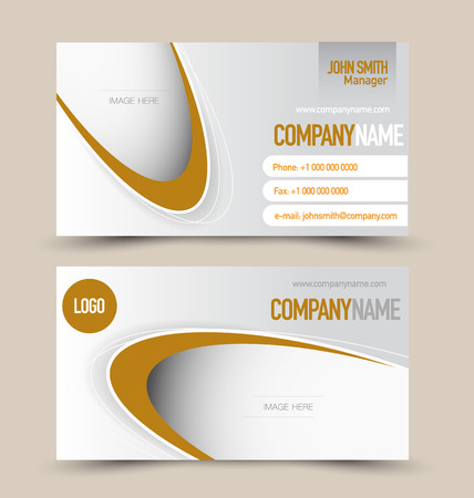 calling art: Business card design set template for company corporate style. Brown color. Vector illustration.
