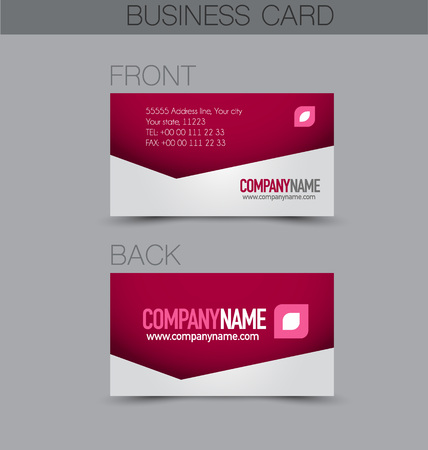 name calling: Business card design set template for company corporate style. Pink color. Vector illustration.