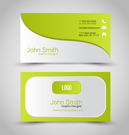 calling art: Business card design set template for company corporate style. Green and silver color. Vector illustration.