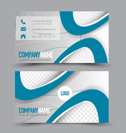 Modèle de jeu de cartes de visite pour le style d'entreprise de l'identité commerciale. Couleur bleue et blanche Illustration vectorielle