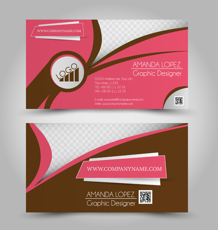 name calling: Business card set template for business identity corporate style. Pink and brown color. Vector illustration.