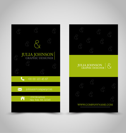 calling art: Business card set template for business identity corporate style. Black and green color. Vector illustration.