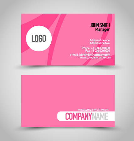 name calling: Business card set template. Pink color. Vector illustration.