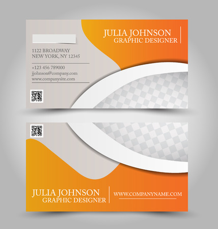 name calling: Business card set template for business identity corporate style. Orange color. Vector illustration. Illustration