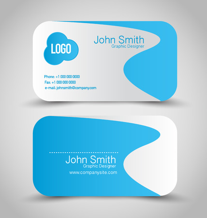 name calling: Business card set template. Blue and silver grey color. Vector illustration.