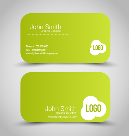 calling art: Business card set template. Green color. Vector illustration.