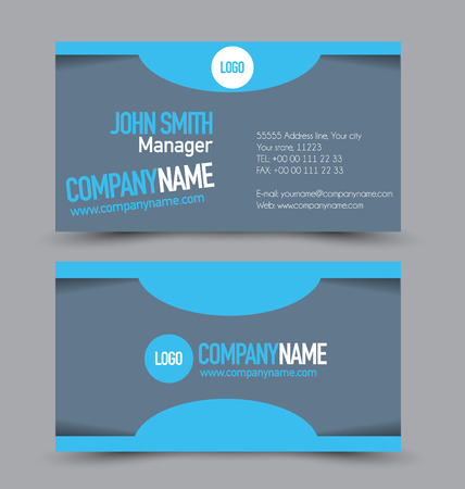 name calling: Business card set template for business identity corporate style. Blue color. Vector illustration.