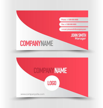 calling art: Business card set template. Red and silver grey color. Vector illustration. Illustration