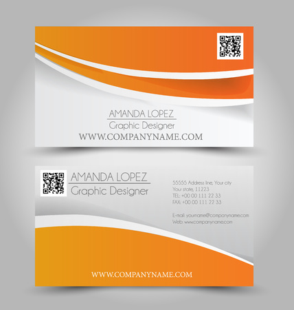 Business card set template for business identity corporate style. Orange color. Vector illustration. Illustration