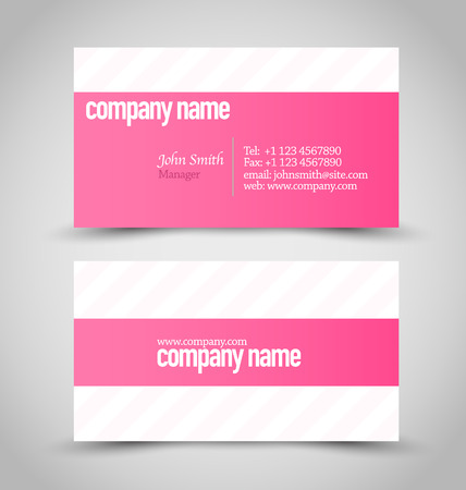 calling art: Business card set template. Pink and white color. Vector illustration.