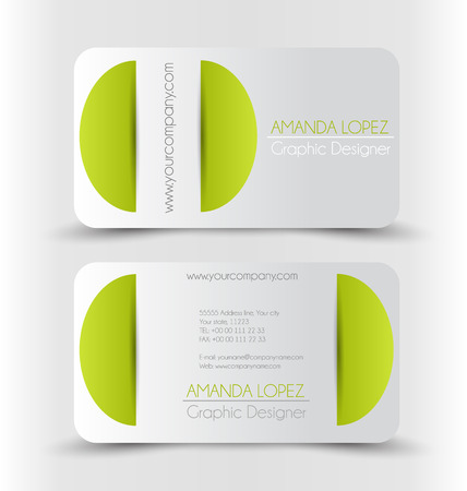 calling art: Business card set template for business identity corporate style. Green and silver color. Vector illustration.
