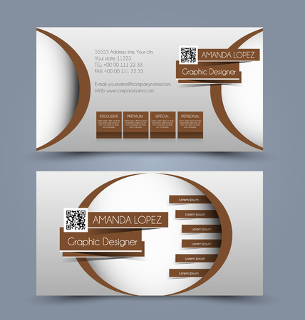 Business card set template for business identity corporate style. Brown color. Vector illustration. Ilustração