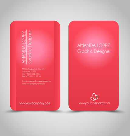 calling art: Business card set template for business identity corporate style. Red color. Vector illustration.