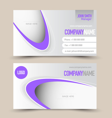name calling: Business card set template for business identity corporate style. Purple color. Vector illustration.