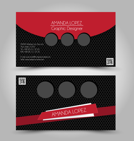 calling art: Business card set template for business identity corporate style. Red and black color. Vector illustration. Illustration