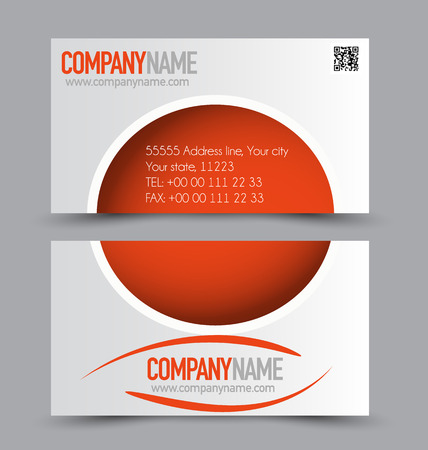 calling art: Business card set template for business identity corporate style. Orange color. Vector illustration. Illustration