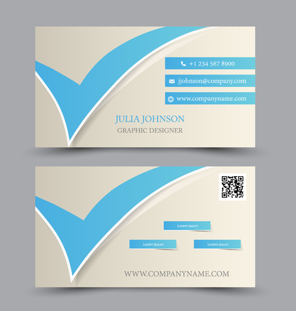 calling art: Business card set template for business identity corporate style. Blue and white color. Vector illustration. Illustration