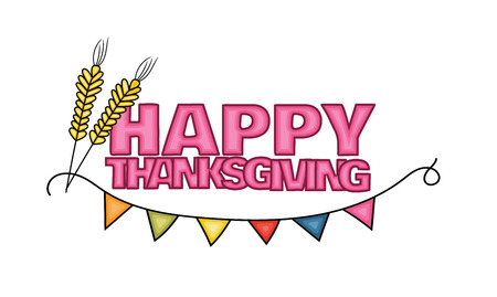 rye: Happy Thanksgiving Day banner sign with rye. Cartoon hand draw doodle colorful vector illustration.