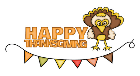 Happy Thanksgiving Day banner sign with a turkey. Cartoon hand draw doodle colorful vector illustration. Illustration