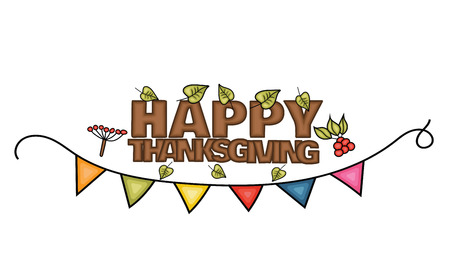 Happy Thanksgiving Day banner sign with small green leaves. Cartoon hand draw doodle colorful vector illustration.