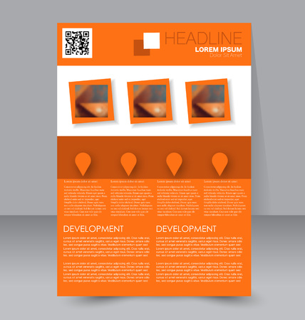 handout: Abstract flyer design background. Brochure template. To be used for magazine cover, business mockup, education, presentation, report.  Orange color. Illustration