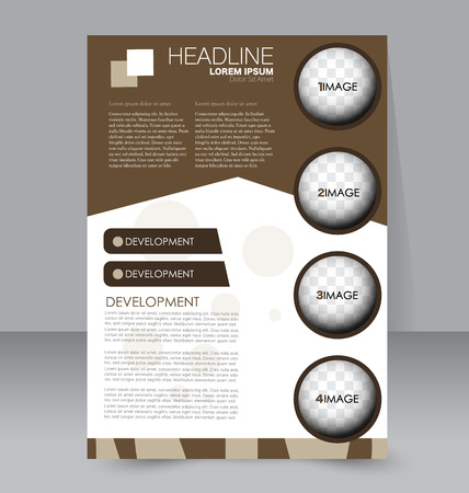 handout: Abstract flyer design background. Brochure template. For magazine cover, business mockup, education, presentation, report.  Brown color. Vector illustration. Illustration