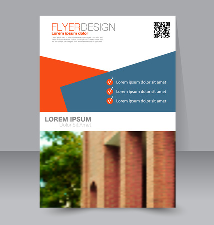 handout: Abstract flyer design background. Brochure template. To be used for magazine cover, business mockup, education, presentation, report.  Blue and orange color. Illustration