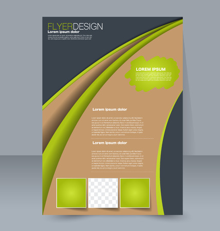 handout: Abstract flyer design background. Brochure template. For magazine cover, business mockup, education, presentation, report. Vector illustration. Green, grey, and brown color.