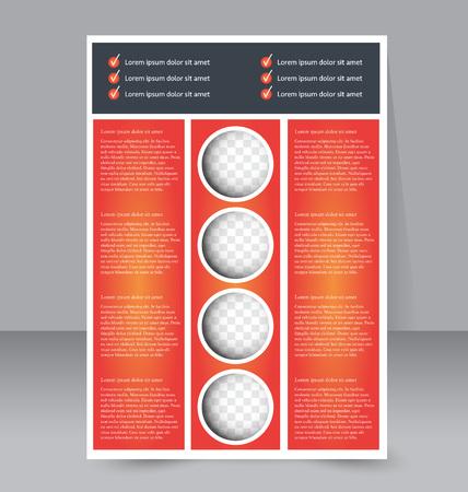 handout: Abstract flyer design background. Brochure template. For magazine cover, business mockup, education, presentation, report.  Orange color. Vector illustration.