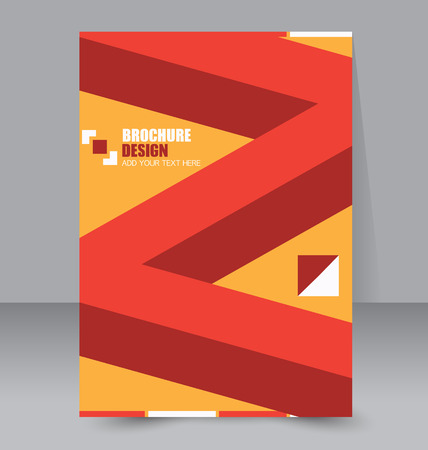 handout: Abstract flyer design background. Brochure template. To be used for magazine cover, business mockup, education, presentation, report.  Red and orange color.