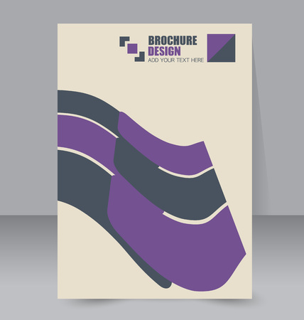 handout: Abstract flyer design background. Brochure template. For magazine cover, business mockup, education, presentation, report. Vector illustration. Purple color.