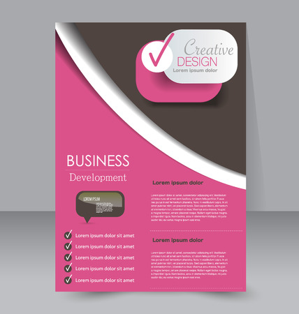 handout: Abstract flyer design background. Brochure template. To be used for magazine cover, business mockup, education, presentation, report.  Pink and brown color.