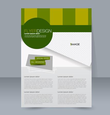 handout: Abstract flyer design background. Brochure template. For magazine cover, business mockup, education, presentation, report. Vector illustration. Green color. Illustration