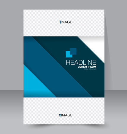 business report: Abstract flyer design background. Brochure template. To be used for magazine cover, business mockup, education, presentation, report.  Blue color.