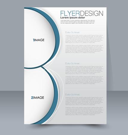 handout: Abstract flyer design background. Brochure template. For magazine cover, business mockup, education, presentation, report. Vector illustration. Blue color.