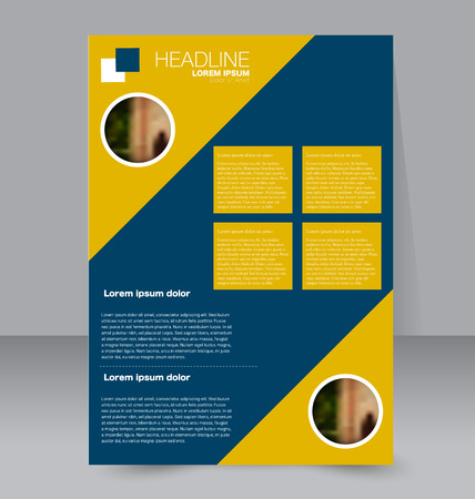handout: Abstract flyer design background. Brochure template. For magazine cover, business mockup, education, presentation, report.  Yellow and blue color. Vector illustration.