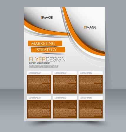 handout: Abstract flyer design background. Brochure template. For magazine cover, business mockup, education, presentation, report. Vector illustration. Orange color.