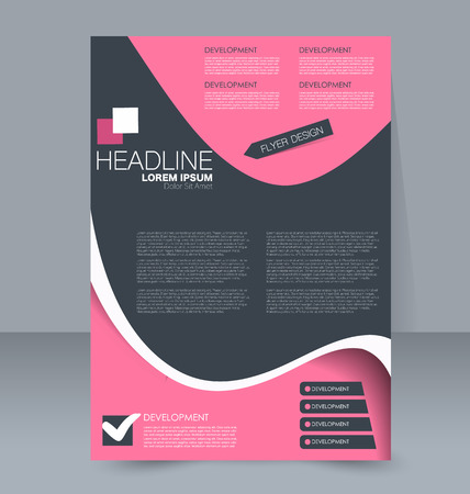 handout: Abstract flyer design background. Brochure template. For magazine cover, business mockup, education, presentation, report. Vector illustration. Pink and grey color. Illustration