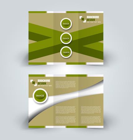 Brochure mock up design template for business, education, advertisement. Trifold booklet editable printable illustration.